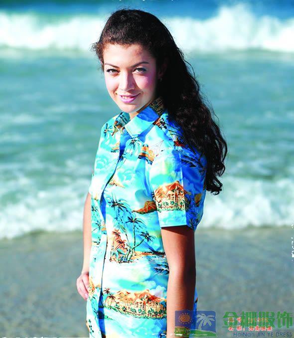 夏威夷风情女士高级丝光棉金椰海南岛服jy1502